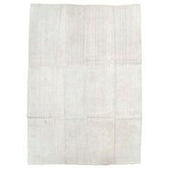 Mid-20th Century Handmade Turkish White Hemp Flat-Weave Kilim Room Size Rug