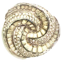 Mid-20th Century Hattie Carnegie Silver & Austrian Crystal Brooch-Signed