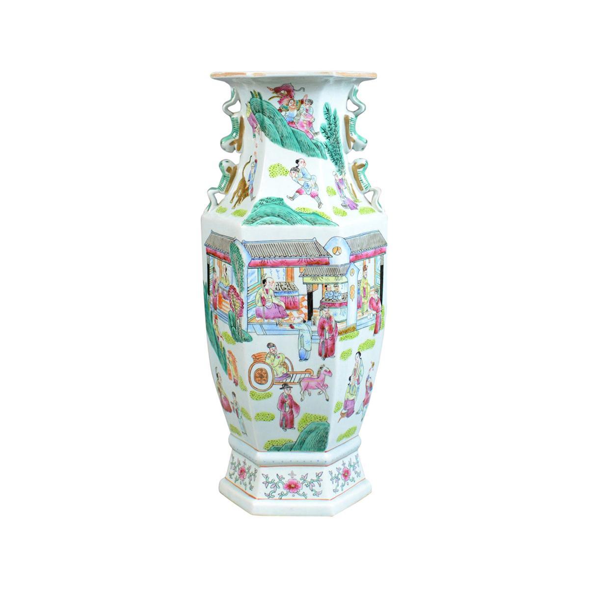 Mid-20th Century, Hexagonal, Baluster Vase, Chinese Ceramic Urn
