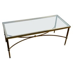 Mid 20th Century Hollywood Regency Brass & Smoked Glass Coffee Table