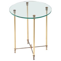 Mid-20th Century Hollywood Regency Sidetable, Glass and Copper