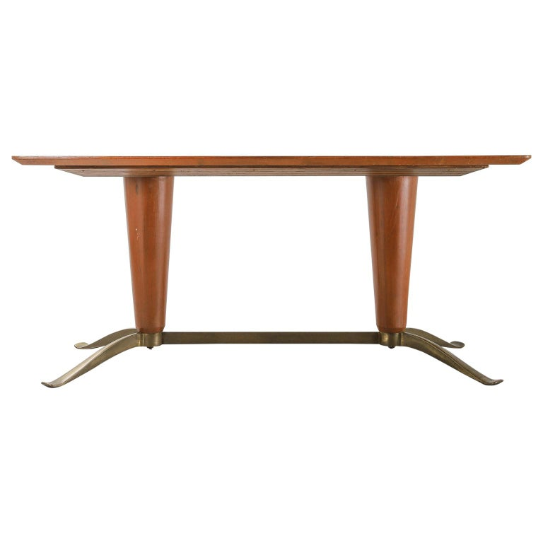 Mid-20th Century Honey Coloured Starburst Pattern Dining Table with Brass Feet For Sale