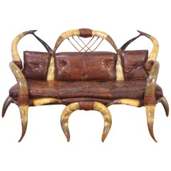 Mid-20th Century Horn and Leather Sofa