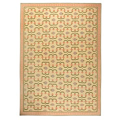 Mid-20th Century Indian Dhurrie Cream, Pink, Olive, Lilac Handwoven Cotton Rug