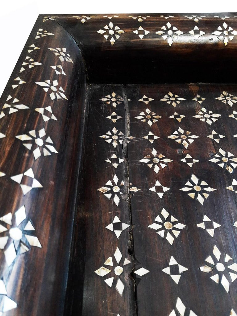 Anglo-Indian Mid-20th Century Inlaid Teak Tray from India For Sale