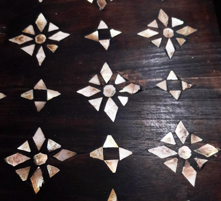 Indian Mid-20th Century Inlaid Teak Tray from India For Sale