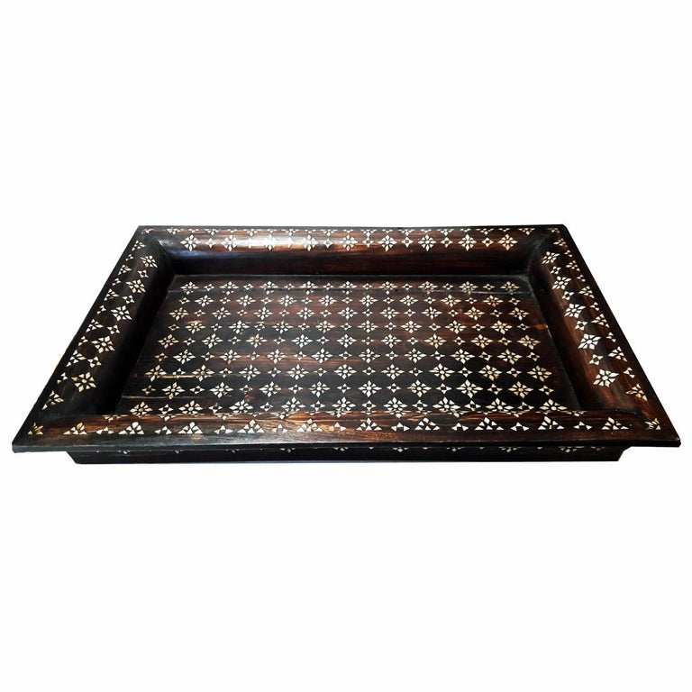 Mother-of-Pearl Mid-20th Century Inlaid Teak Tray from India For Sale