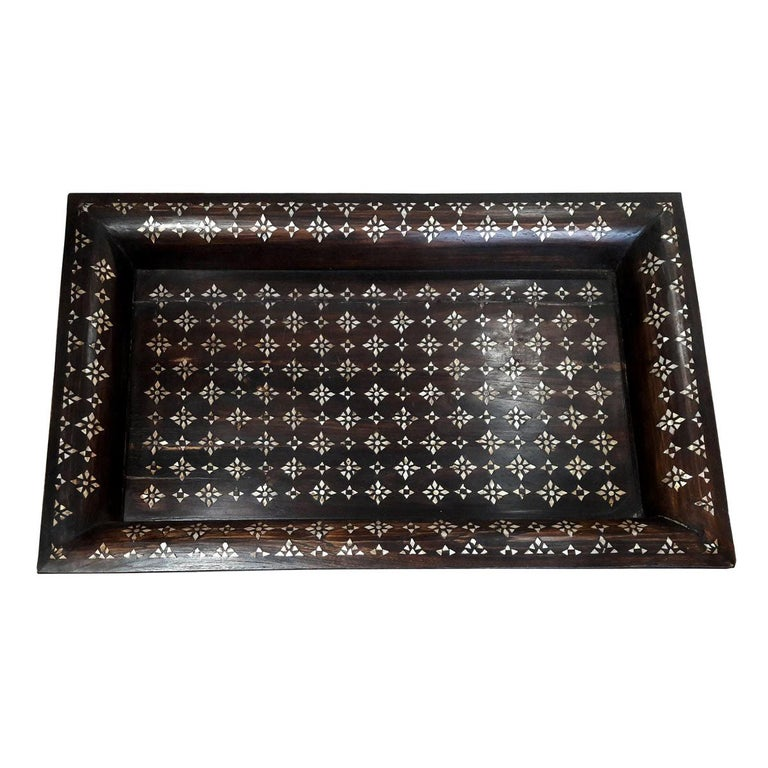 Mid-20th Century Inlaid Teak Tray from India For Sale