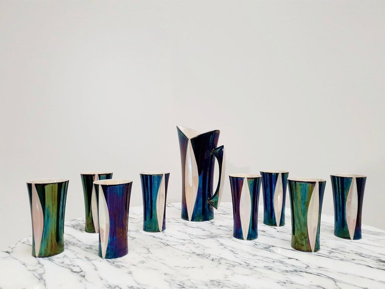 Mid-20th Century Iridescent Ceramic Drinks Set of 9 Made in France, 1970s For Sale 5