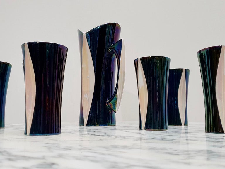 Mid-20th Century Iridescent Ceramic Drinks Set of 9 Made in France, 1970s For Sale 6