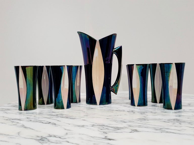 Mid-20th Century Iridescent Ceramic Drinks Set of 9 Made in France, 1970s For Sale 8