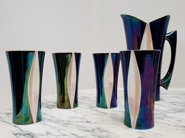 Mid-20th Century Iridescent Ceramic Drinks Set of 9 Made in France, 1970s For Sale 9