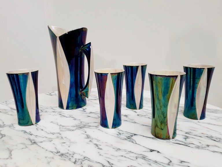 Mid-20th Century Iridescent Ceramic Drinks Set of 9 Made in France, 1970s For Sale 11