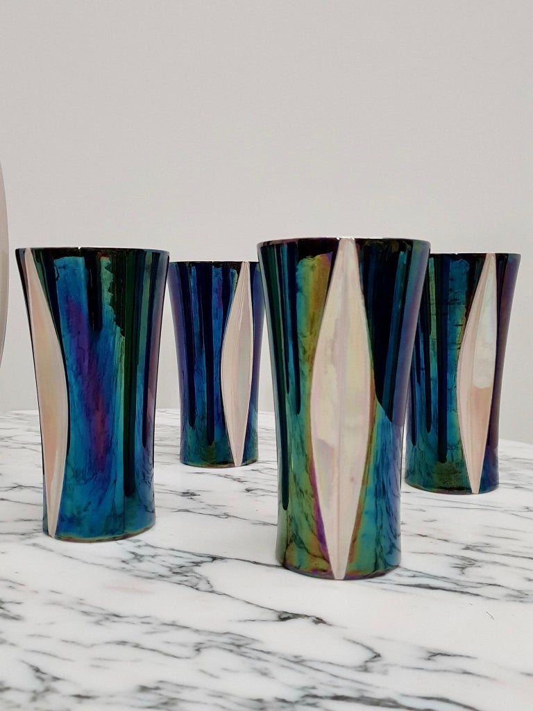 Hollywood Regency Mid-20th Century Iridescent Ceramic Drinks Set of 9 Made in France, 1970s For Sale
