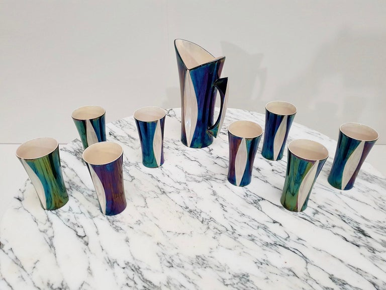 Mid-20th Century Iridescent Ceramic Drinks Set of 9 Made in France, 1970s For Sale 1
