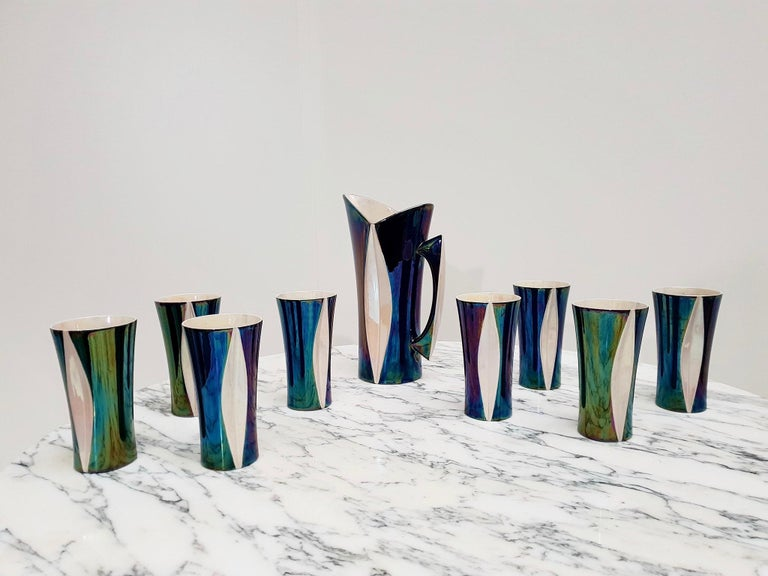 Mid-20th Century Iridescent Ceramic Drinks Set of 9 Made in France, 1970s For Sale 3