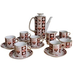 Mid-20th Century Irish Arklow Pottery Coffee Set for Six with Coffee Pot