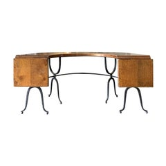 Mid-20th Century Iron and Oak U-Shaped Desk, Two Drop Leaves