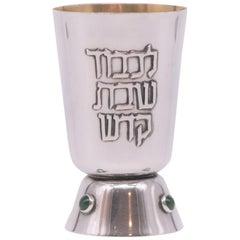 Mid-20th Century Israeli Silver Kiddush Beaker for Shabbat