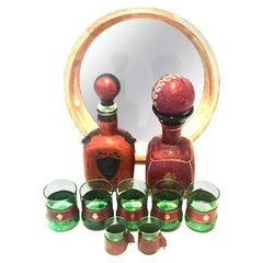 Mid-20th Century Italian Blown Glass and Leather Drinks Set of 10 Pieces