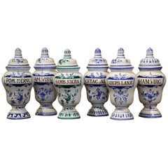 Mid-20th Century Italian Blue and White Ceramic Apothecary Jars, Set of Six
