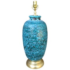 Mid-20th Century Italian Blue Glazed Pottery Lamp