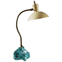 Mid-20th Century Italian Brass and Enamel Desk Lamp with Glass Shard Base