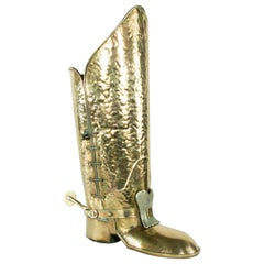 Mid-20th Century Italian Brass Boot Umbrella Stand with Spur
