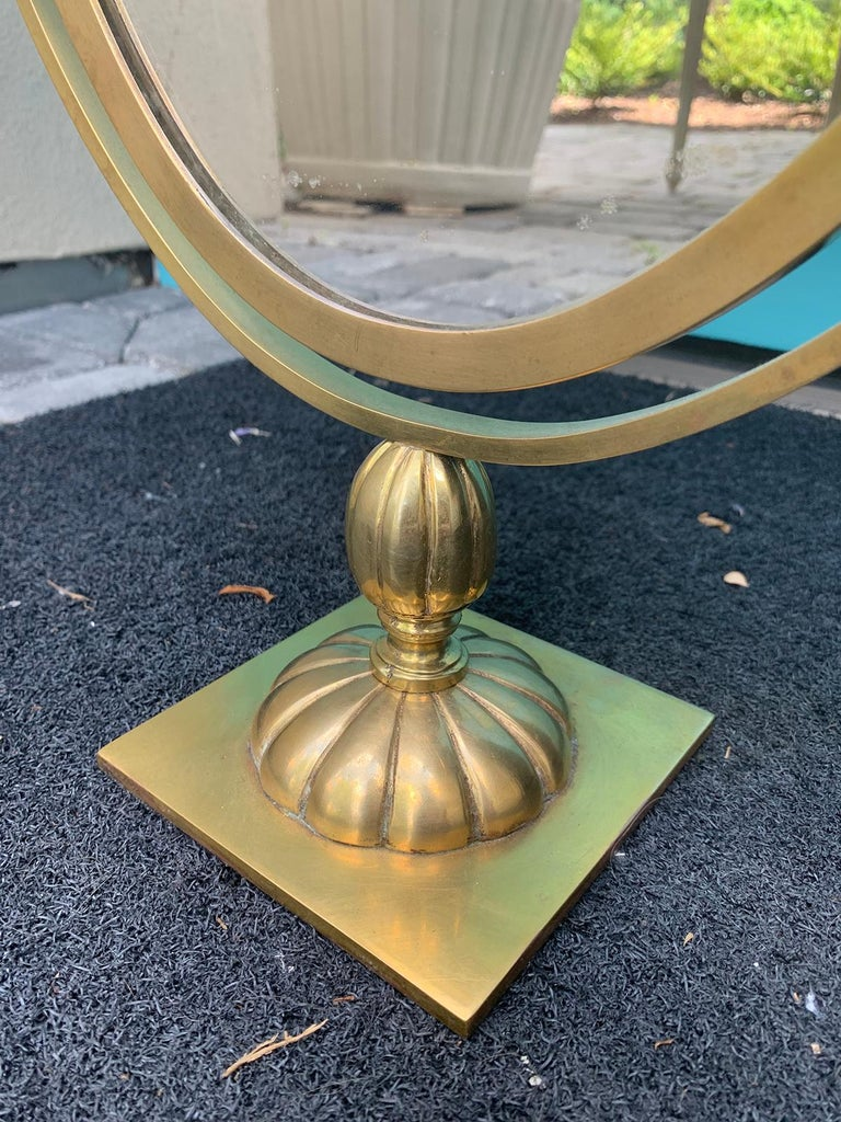 Mid-20th Century Brass Double Sided Vanity Mirror, Attributed to Charles Hollis For Sale 1