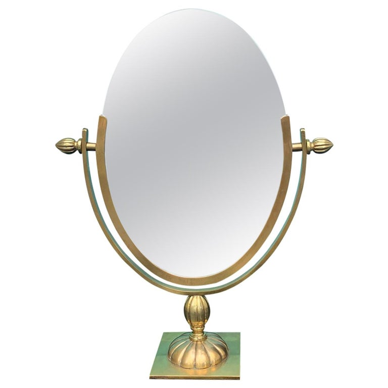 Mid-20th Century Brass Double Sided Vanity Mirror, Attributed to Charles Hollis For Sale