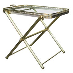 Mid-20th Century Italian Brass and Glass Tray on Folding Stand as Side Table