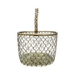 Mid-20th Century Italian Brass Wire Basket with Braided Handle
