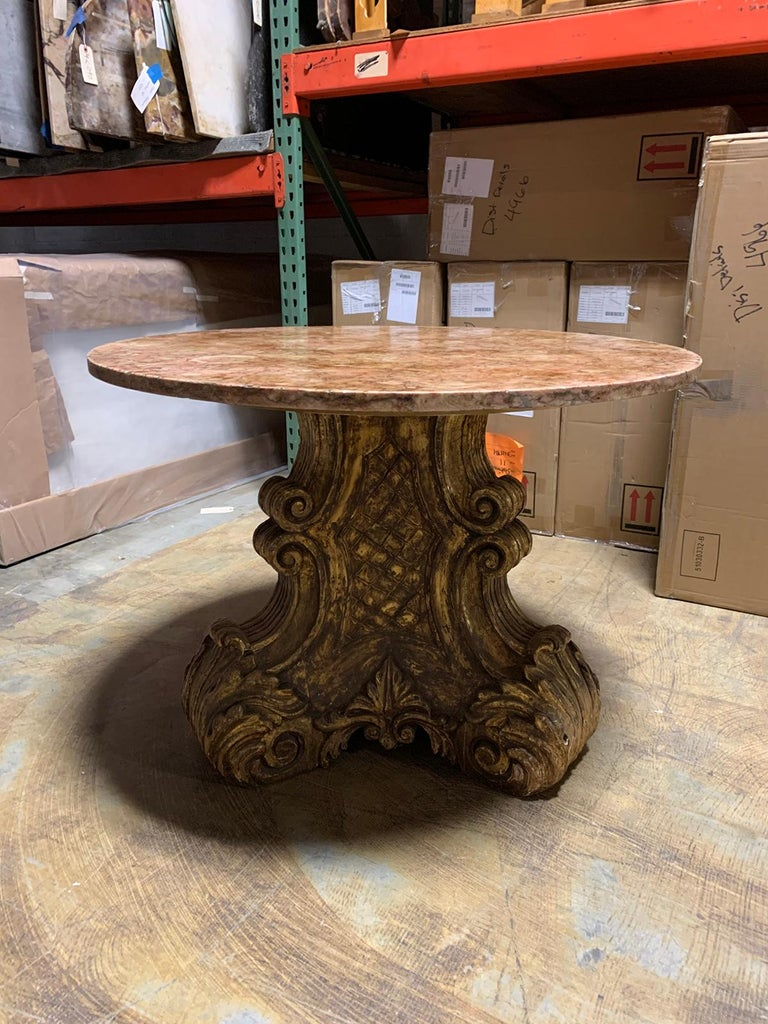 Hand-Carved Mid-20th Century Italian Carved Giltwood Pedestal Table with Marble Top For Sale