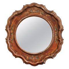 Mid-20th Century Italian Carved Hand Painted Wall Mirror with Floral Decor