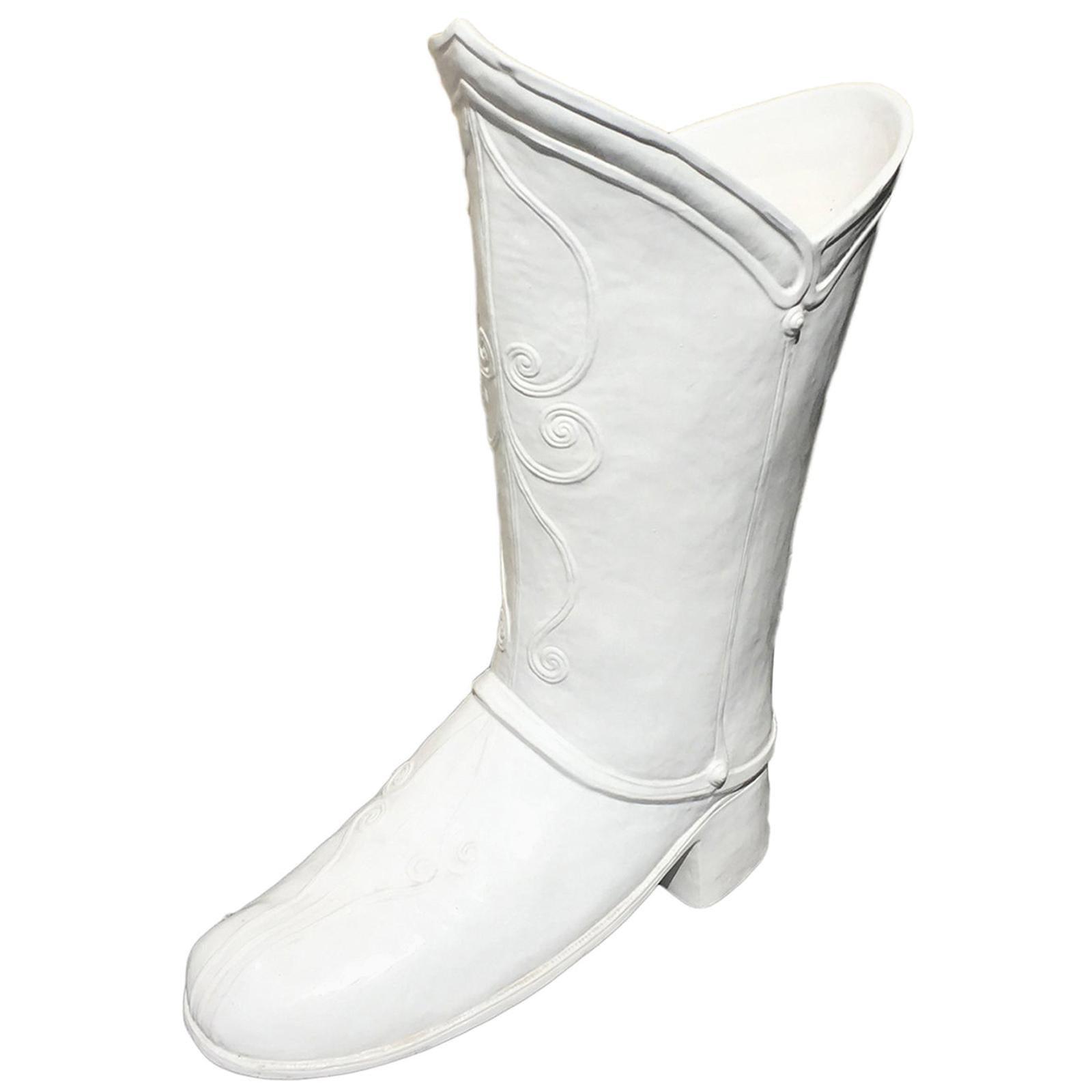 Mid-20th Century Italian Creamware Boot Umbrella Stand by Taste Sellar by Sigma