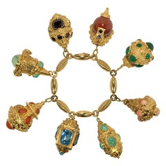 Mid-20th Century Italian Etruscan Revival Charm Bracelet- 8 Charms