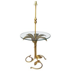 Mid-20th Century Italian Gilt Metal Floor Lamp with Clear Glass Table