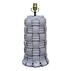 Mid-20th Century Italian Glazed Pottery Lamp with Ribbon Motif