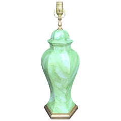 Mid-20th Century Italian Green and White Faux Marbre Lamp on Custom Base, Marked