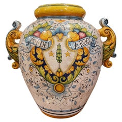 Mid-20th Century Italian Hand Painted Ceramic Cache Pot with Crest Motifs