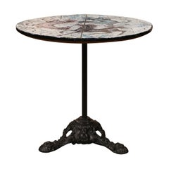 Mid-20th Century Italian Iron and Marble Pedestal Table with Mosaic Horse Motifs