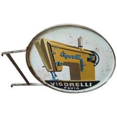 Mid-20th Century Italian Metal Sewing Machine Sign by Brand Vigorelli, 1950