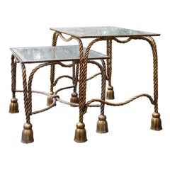 Mid-20th Century Italian Nesting Tables with Rope and Tassel Detail