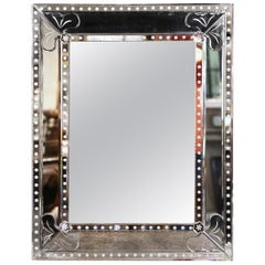 Mid-20th Century Italian Overlay Venetian Mirror with Painted Floral Etching