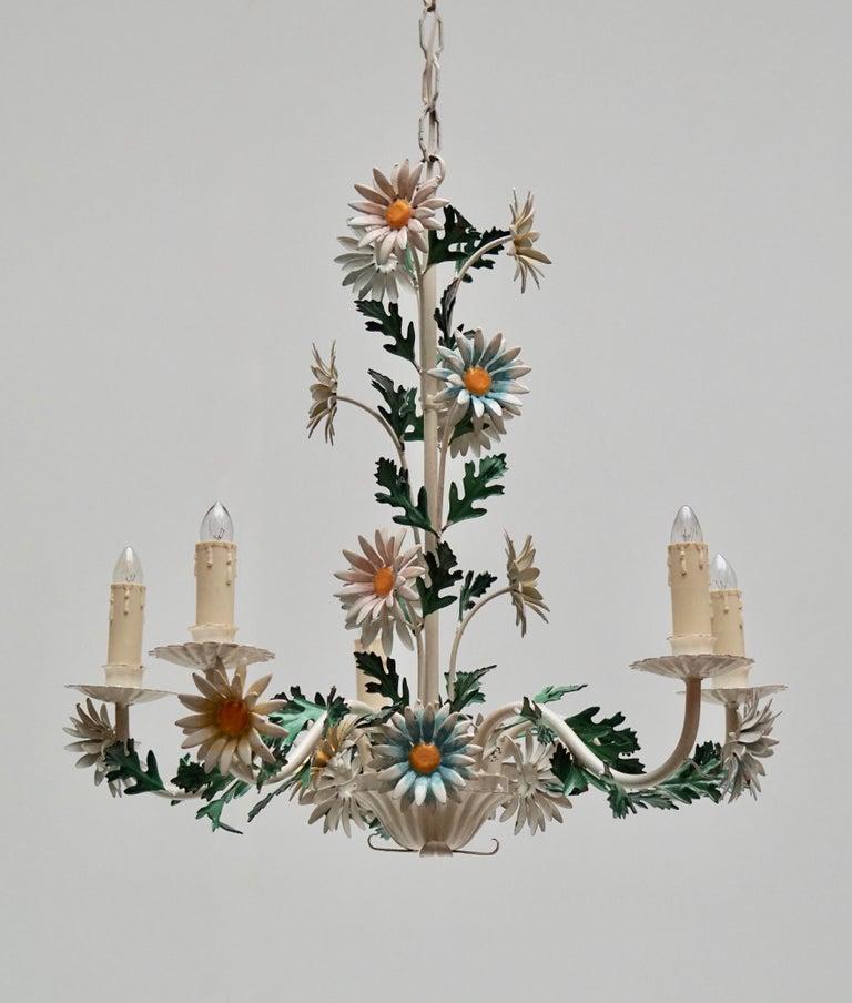 Floraler Kronleuchter aus bemaltem Eisen und Feinblech, Italien, Mitte des 20. Jahrhunderts 11