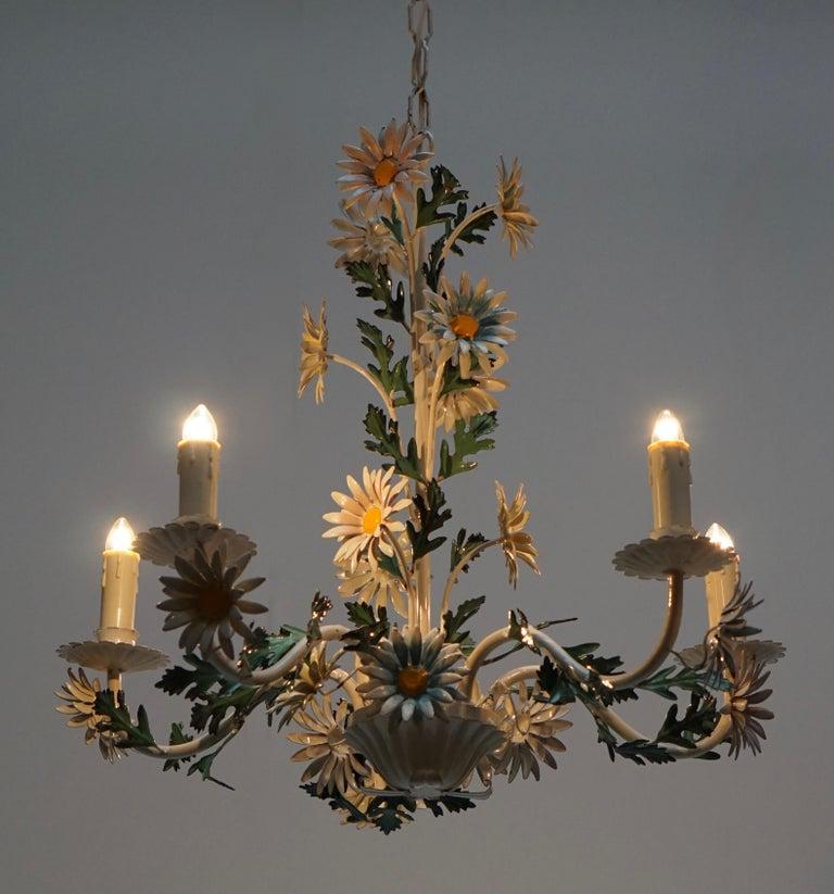 Floraler Kronleuchter aus bemaltem Eisen und Feinblech, Italien, Mitte des 20. Jahrhunderts 13