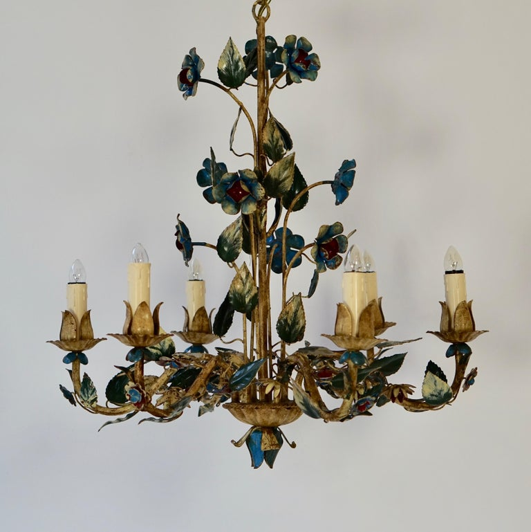 Mid-Century Modern Mid-20th Century Italian Painted Iron and Tole Chandelier with Flowers For Sale