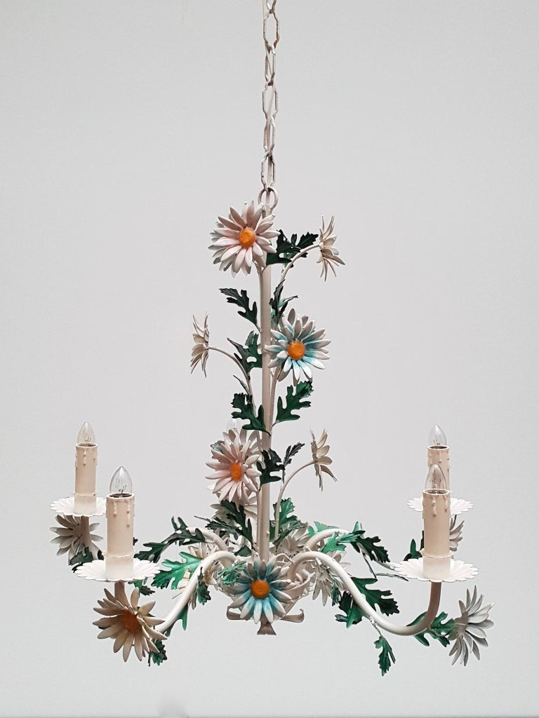 Floraler Kronleuchter aus bemaltem Eisen und Feinblech, Italien, Mitte des 20. Jahrhunderts 6