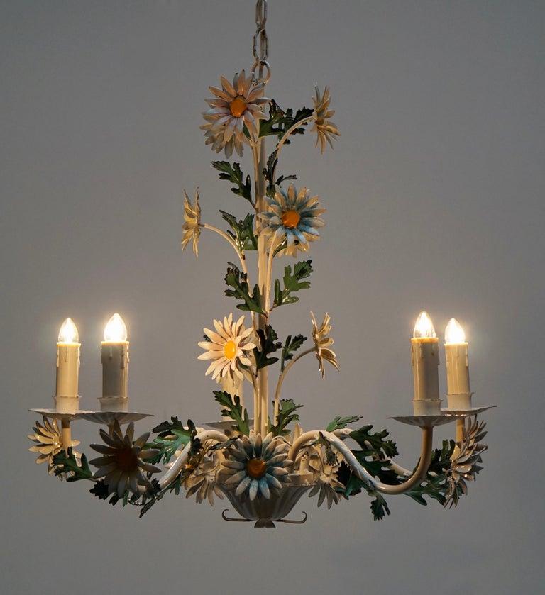Floraler Kronleuchter aus bemaltem Eisen und Feinblech, Italien, Mitte des 20. Jahrhunderts 8