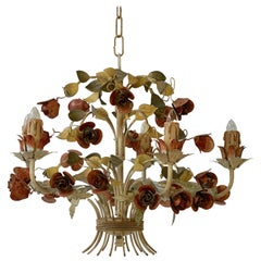 Mid-20th Century Italian Painted Iron and Tole Chandelier with Flowers